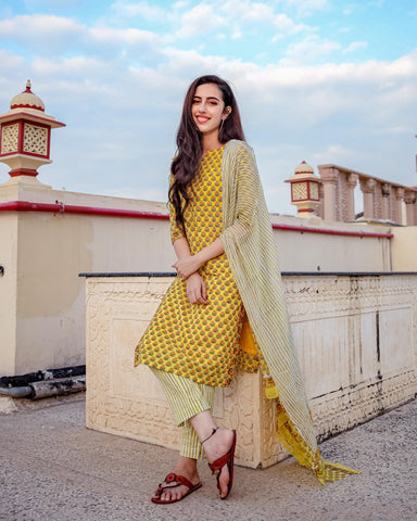 Lime Yellow & Rani Gotapatti Suit Set