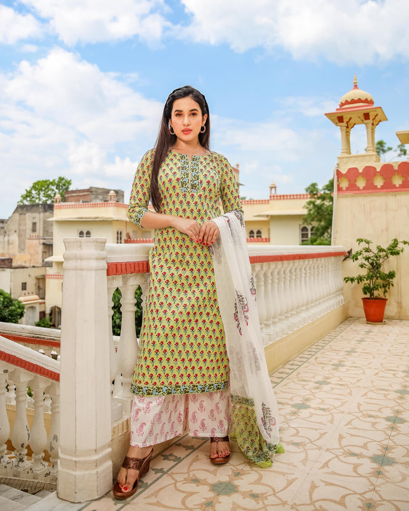 Light Green Floral Handblock Cotton Suit