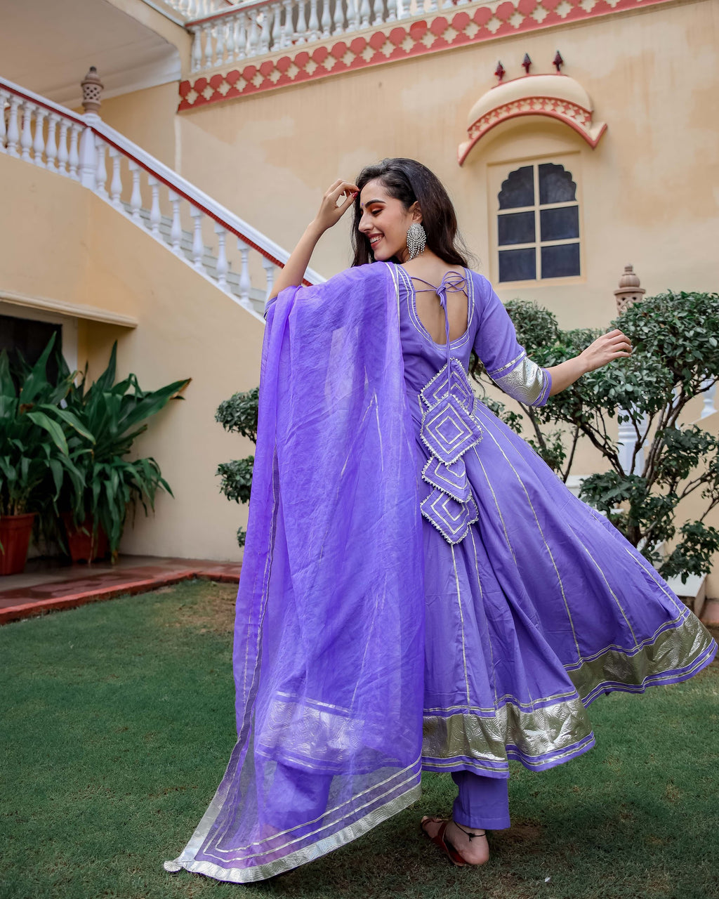 Purple Shimmer Gotapatti Anarkali Set