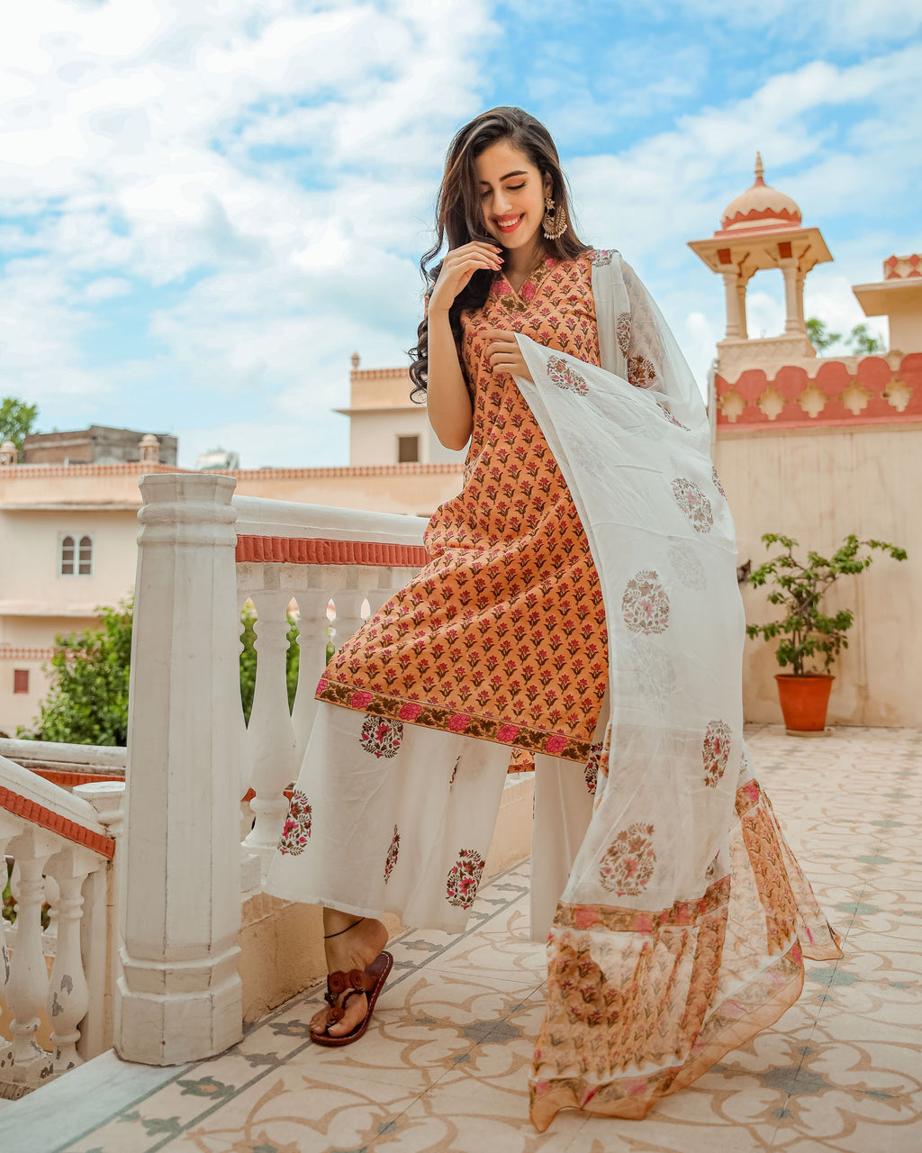 Peach Floral Handblock Cotton Suit