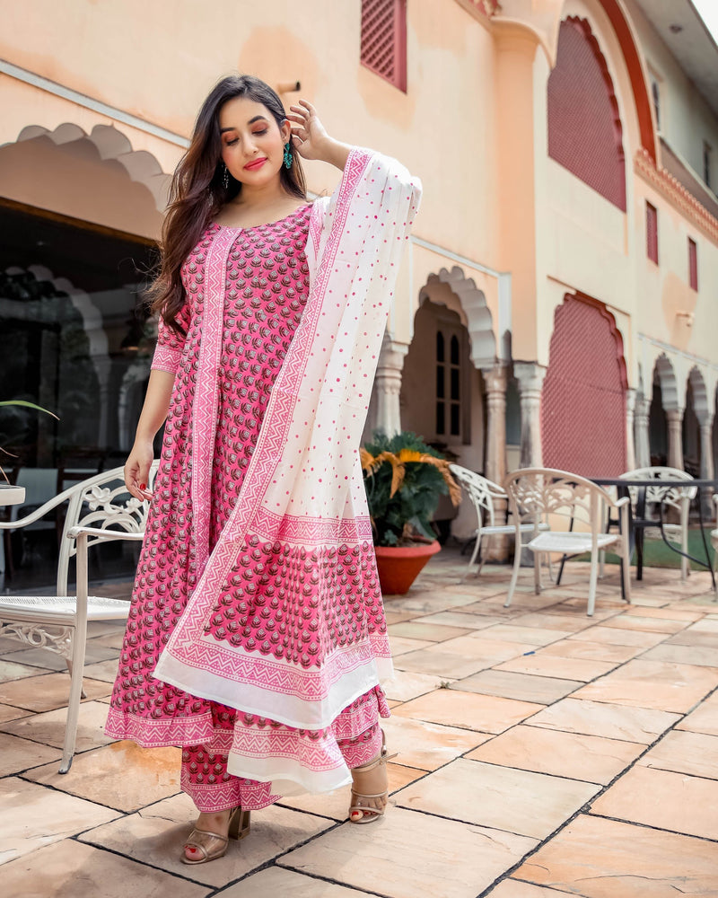 Indian Pink Handblock Suit Set