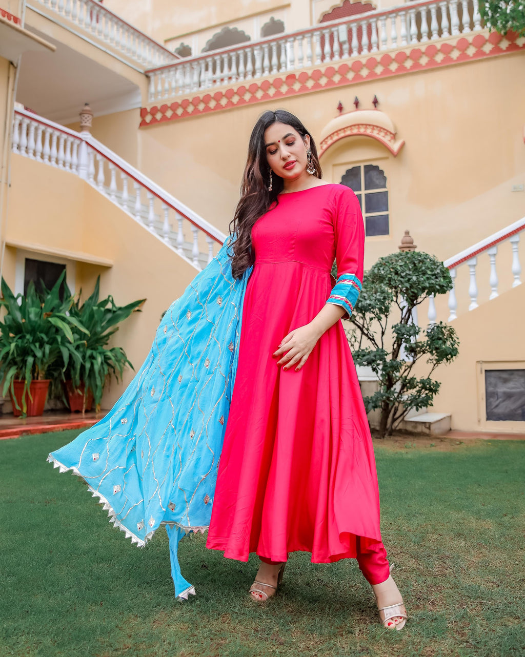Pink & Blue Gotapatti Suit Set