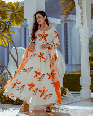 Ivory Gold Handpainting Dress with Dupatta Cotton Dresses Online