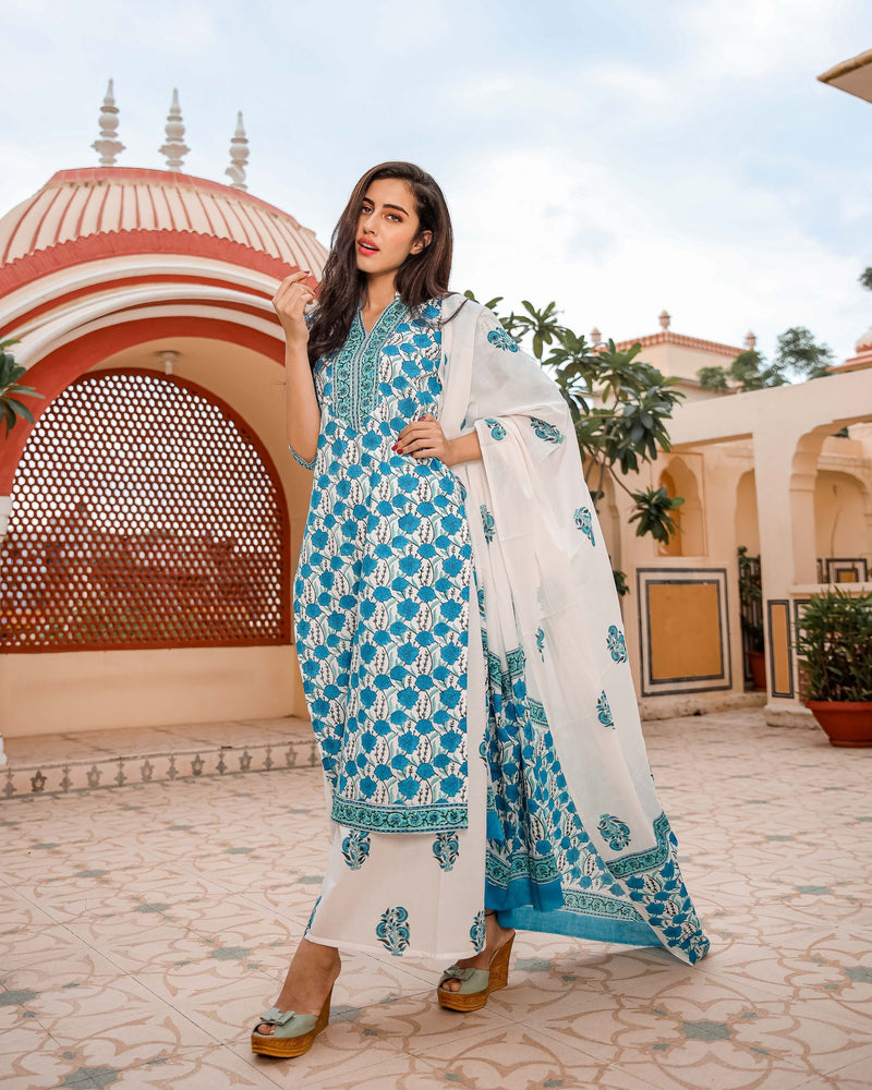 Blue Floral Handblock Cotton Suit Set