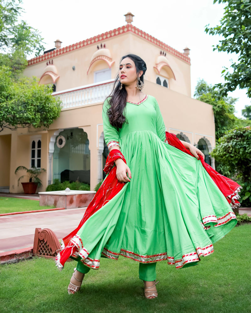 Green & Red Gotapatti Suit Set