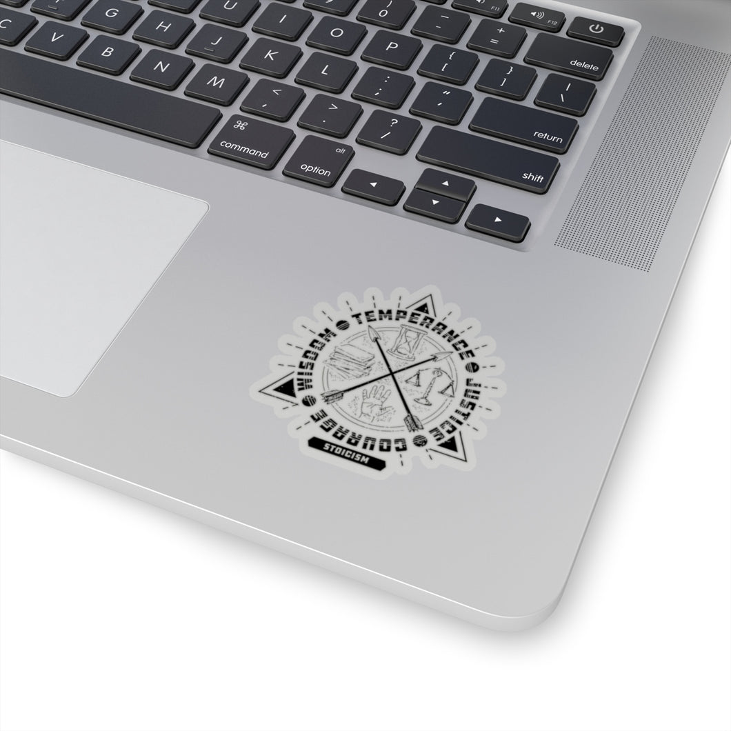 Four virtues of Stoicism laptop sticker