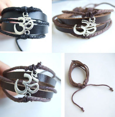 OHM OM PU Leather Bracelet For Men and Women