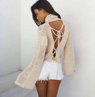 Dreaming of Vancouver™️ High Collar Lace-up Backless Sweater
