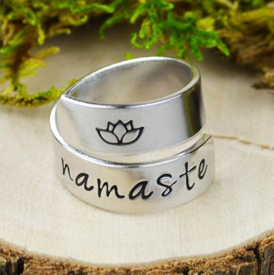 Namaste Yoga Lotus Wrap Ring 925 Silver Plated