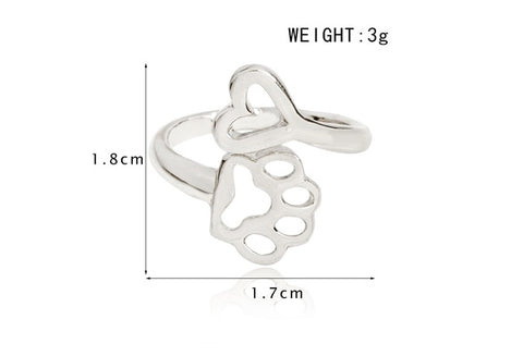 18K Gold Plated Adorable Paws Open Ring for Women