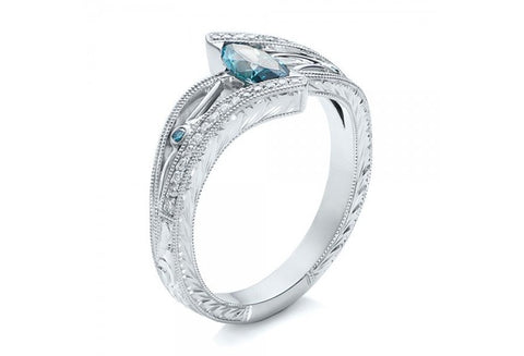 Beautiful 925 Sterling Silver Plated Aquamarine and Topaz December Birth Ring