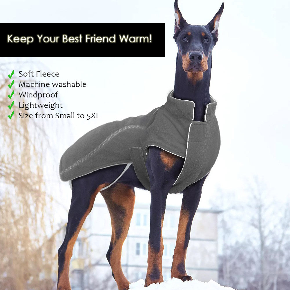 Soft, Machine washable, Windproof Winter Fleece Coat for Dogs with Safety Reflective Lining