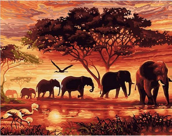 "Elephants in Savanna DIY Painting By Numbers Canvas (16""X20""/ 40X50 cm)"