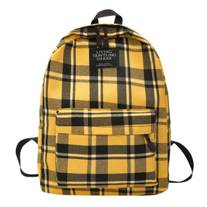 Canvas Backpack Simple Style Women Backpacks Shoulder School Bag College Wind Bag Plaid Teenage Girl Backpack Travel Bag