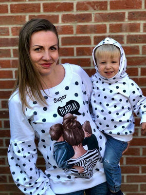 Sweatshirt  - Super Mama - Mamma and Me Collection