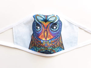 Womens and Teens Cotton Face Mask  - Owl