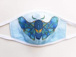Womens and Teens Cotton Face Mask  -  Blue Moth