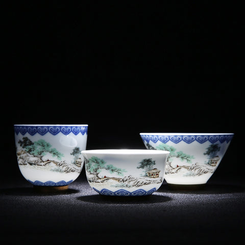 Blue And White Porcelain Tea Cups - Gidli