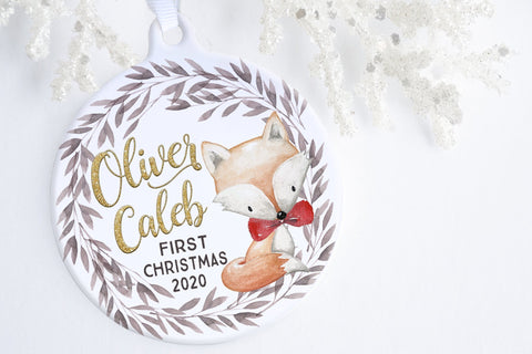 Baby's First Christmas Ornament Personalized | Woodland Fox Baby Ornament | Ollie + Hank