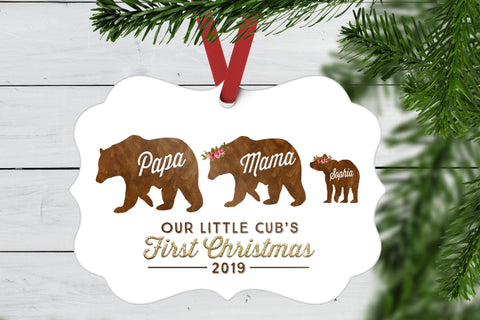 First Christmas Ornament Baby | Bear Family Ornament | Ollie + Hank