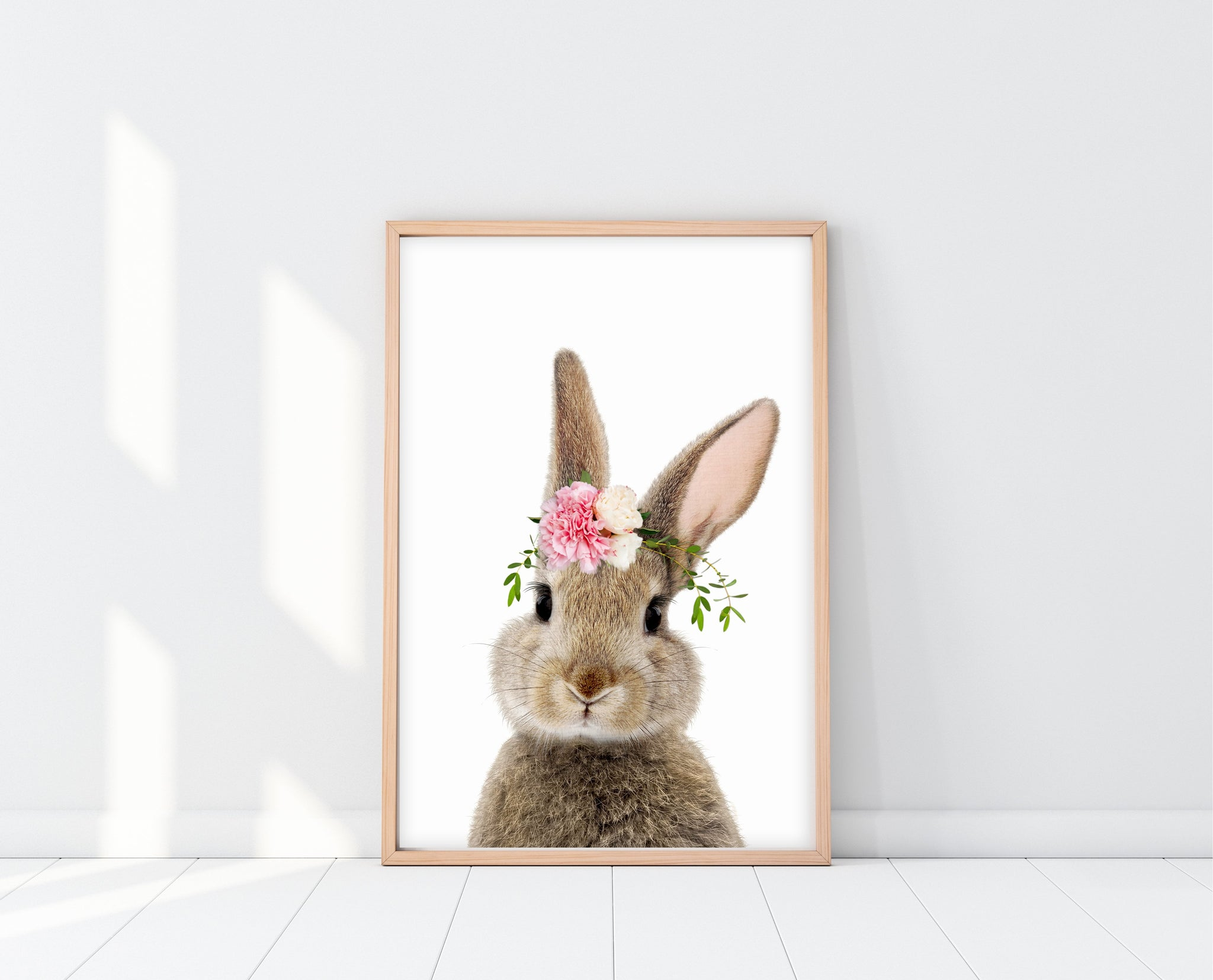 Nursery Girl Wall Art | Peek A Boo Bunny Print | Ollie + Hank  Edit alt text