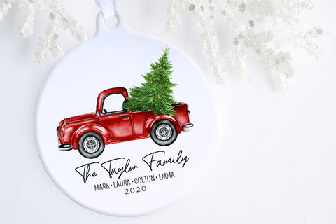 Personalized Family Christmas Ornament | Little Red Truck Ornament | Ollie  + Hank