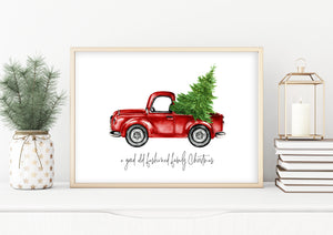 Christmas Wall Art | Old Fashion Christmas Red Truck Print | Ollie + Hank
