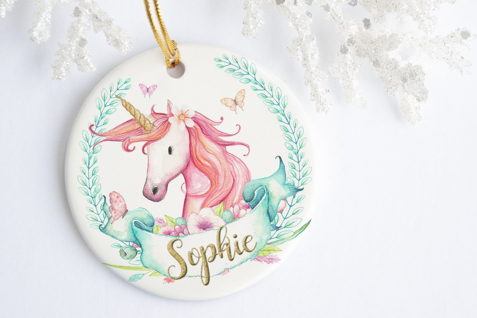 Unicorn Ornament Christmas | Personalized Unicorn Gift | Ollie + Hank
