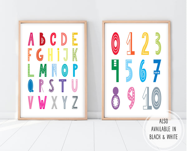 Alphabet Wall Art | ABC 123 Wall Art Set | Ollie + Hank