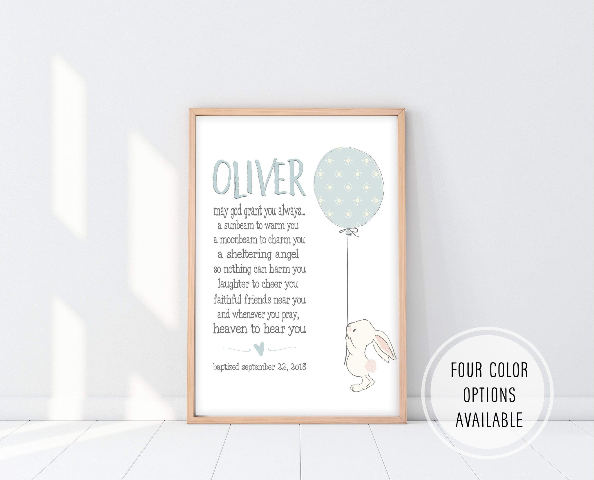 Baby Boy Baptism Gifts | Irish Blessing Nursery Print | Ollie + Hank