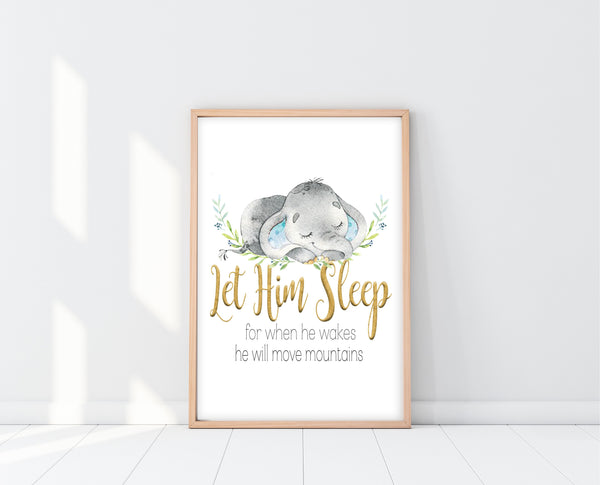 Baby Boy Elephant Nursery Decor | Let Him Sleep For When He Wakes Print | Ollie + Hank