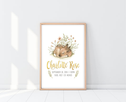 Baby Name Print Wall Art | Woodland Baby Deer Print | Ollie + Hank