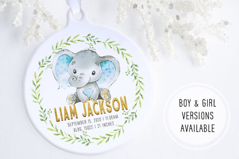 Baby's First Christmas Ornament Elephant | Birth Stats Ornament | Ollie + Hank