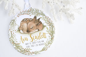 Baby's First Christmas Ornament Personalized | Woodland Baby Ornament | Ollie + Hank