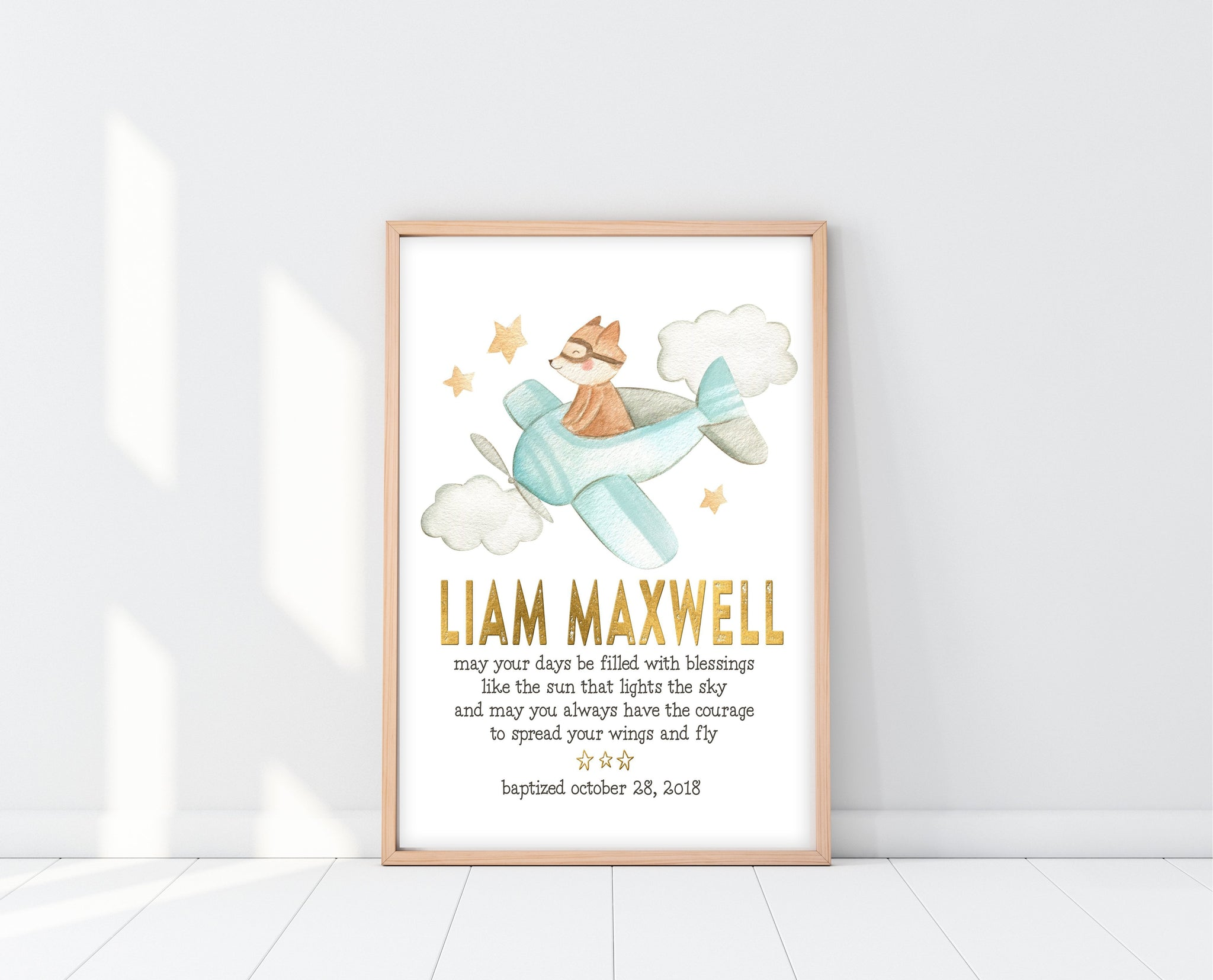Baptism Gift For Godson | Personalized Baby Blessing Print | Ollie + Hank