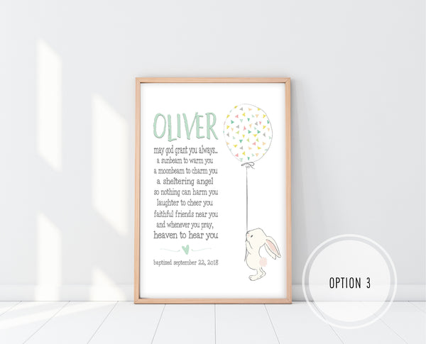 Baptism Gifts For Boys | Irish Blessing Nursery Print | Ollie + Hank