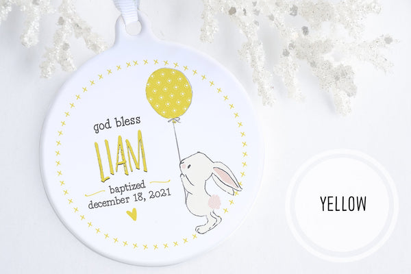 Baptism GIfts For A Baby Boy | Bunny Blessing Baptism Ornament | Ollie + Hank