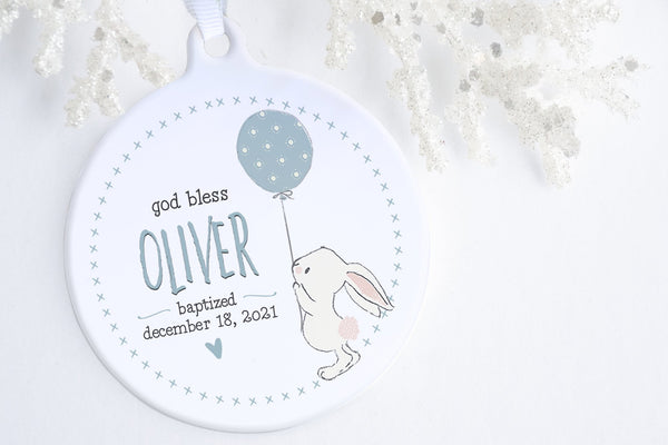 Baptism GIfts For Baby | Bunny Blessing Baptism Ornament | Ollie + Hank