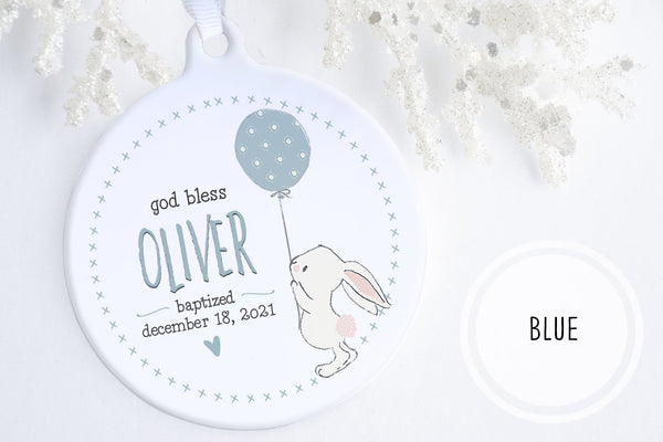 Baptism GIfts From Godparents | Bunny Blessing Baptism Ornament | Ollie + Hank
