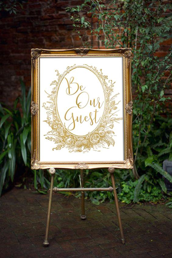 photo relating to Be Our Guest Printable known as Be Our Visitor Indicator Magnificence And The Beast Marriage ceremony Decor