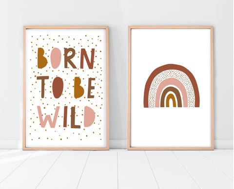 Boho Nursery Decor | Born To Be Wild Print Set | Ollie + Hank