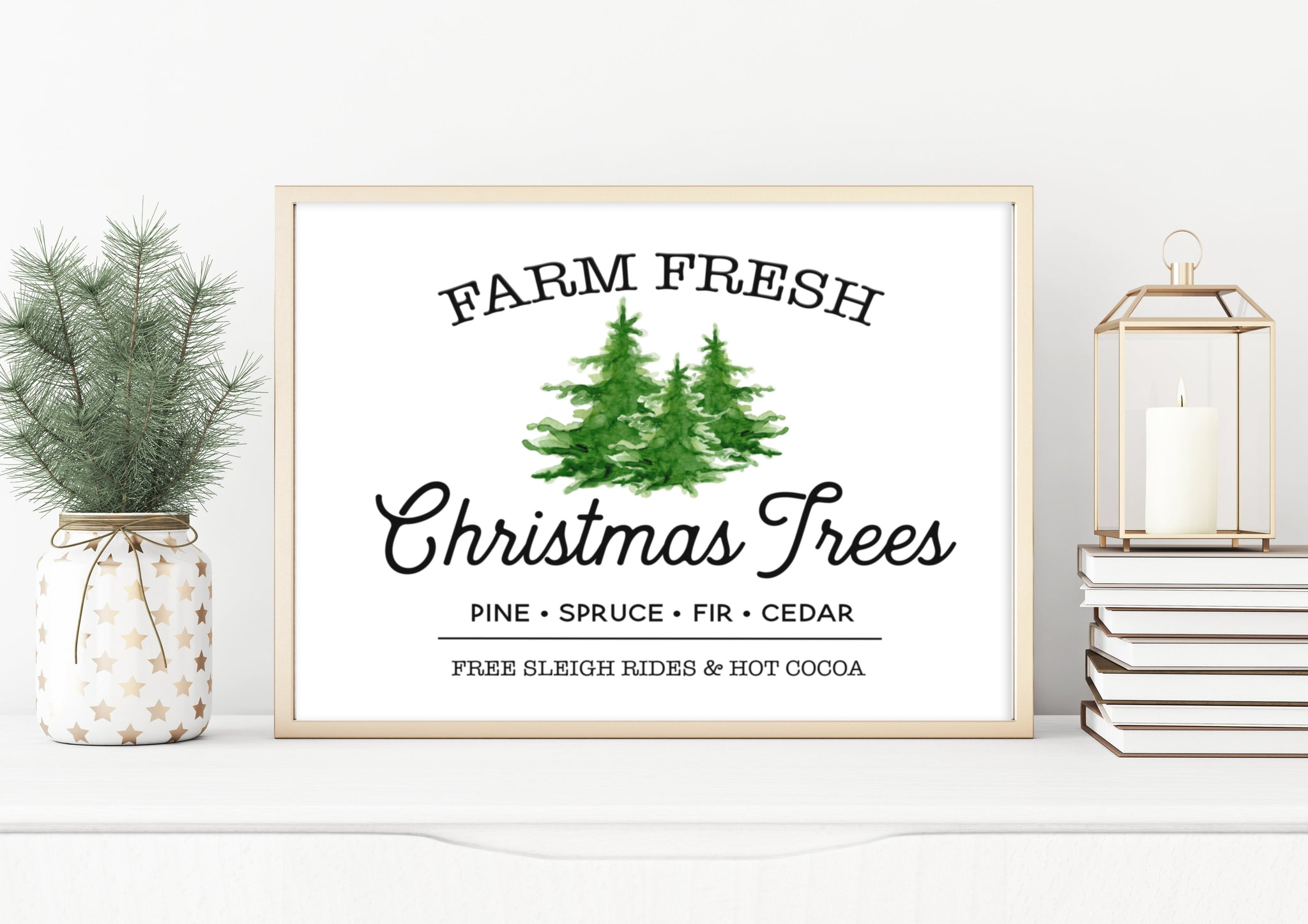 Christmas Wall Art | Farm Fresh Christmas Trees Sign | Ollie + Hank