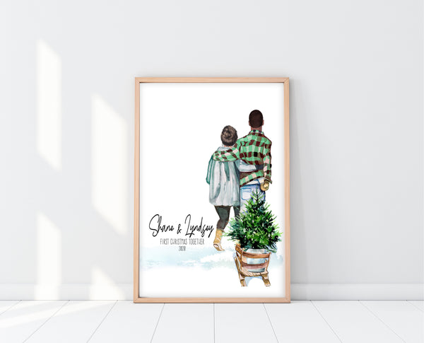 Couples Christmas Gift Ideas | First Christmas Together Print | Ollie + Hank