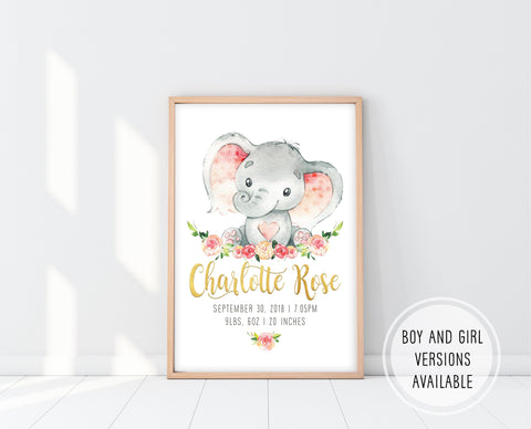 Elephant Nursery Art Girl Pink | Elephant Nursery Decor | Ollie + Hank