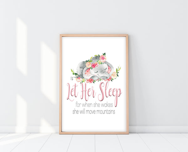 Elephant Nursery Decor | Let Her Sleep For When She Wakes Print | Ollie + Hank