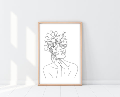 Face Line Artwork | Woman With Flower Head Print | Ollie + Hank