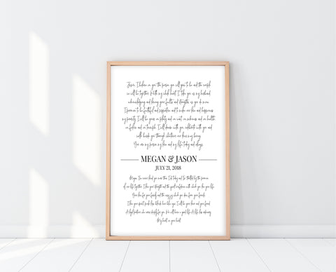 First Anniversary Gift | Wedding Vows Wall Art | Ollie + Hank