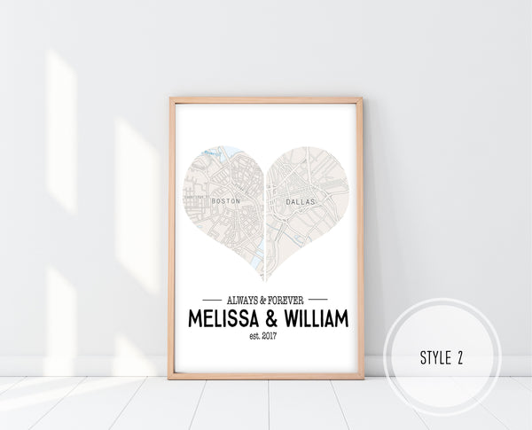 First Anniversary Gifts | Heart Map Print | Ollie + Hank