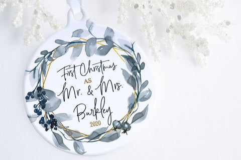 First Christmas Married Ornament | First Christmas As Mr. & Mrs. Ornament | Ollie + Hank