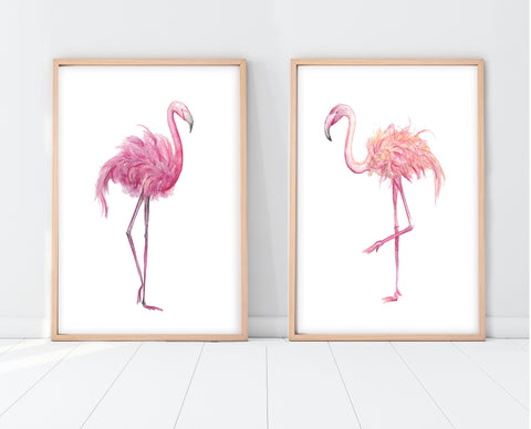 Flamingo Nursery Decor | Flamingo Print Set | Ollie + Hank